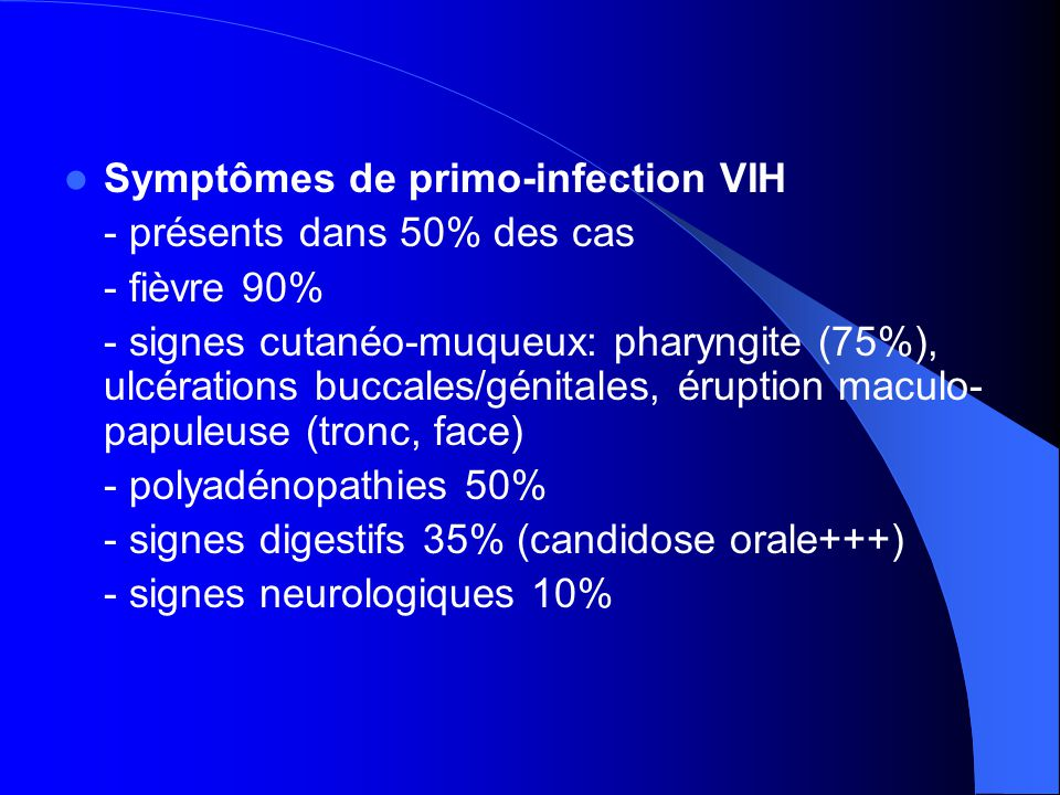 Symptômes de primo-infection VIH