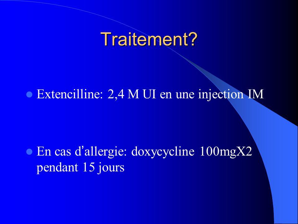Traitement Extencilline: 2,4 M UI en une injection IM