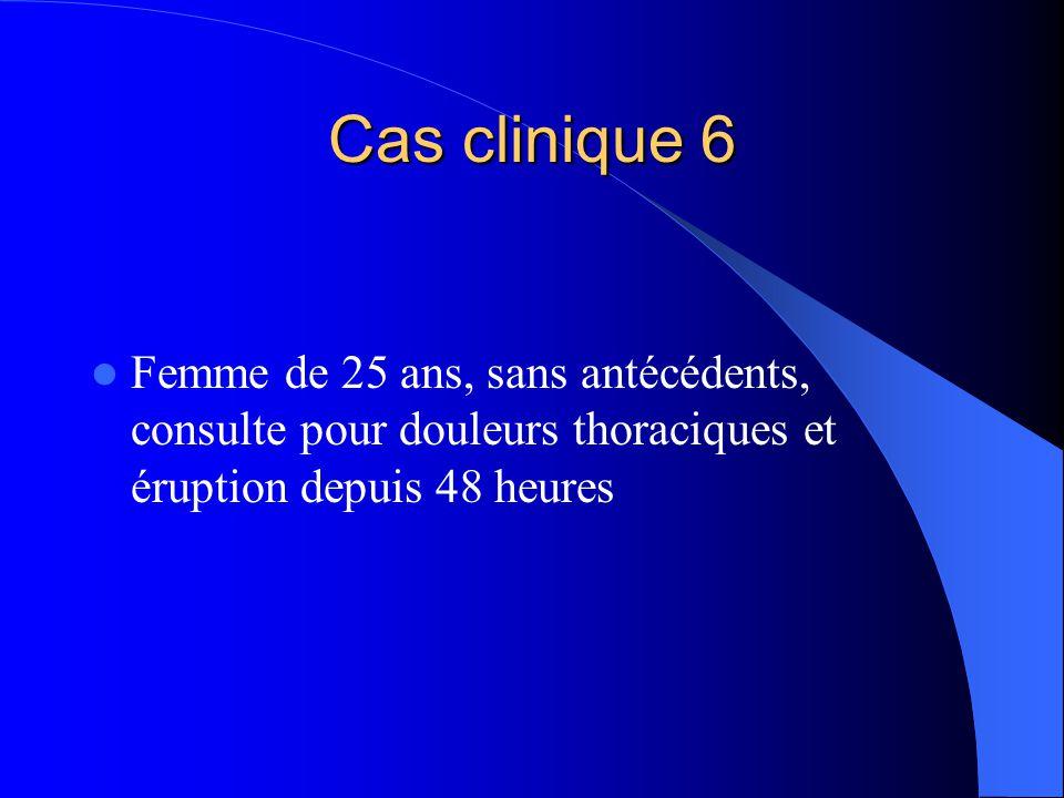 Cas clinique 6 Femme de 25 ans, sans antécédents, consulte pour douleurs thoraciques et éruption depuis 48 heures.