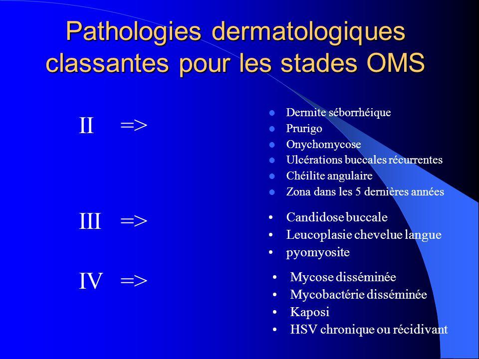 Pathologies dermatologiques classantes pour les stades OMS