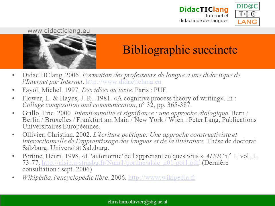 Bibliographie succincte