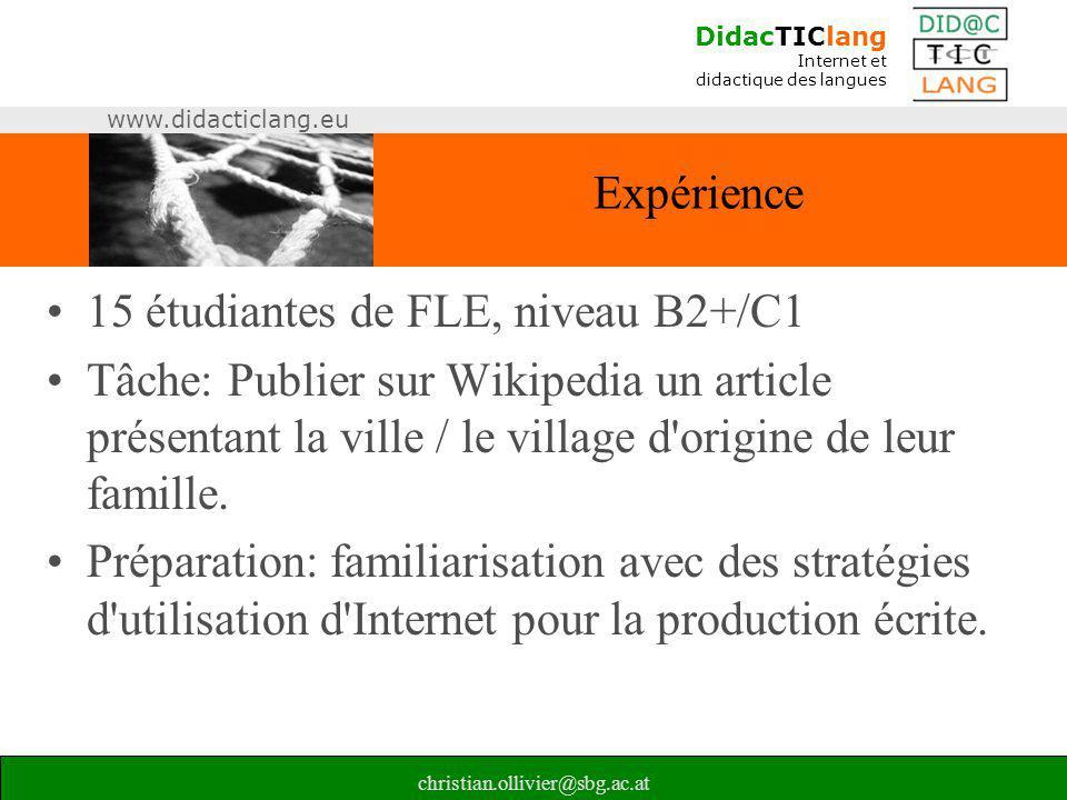 15 étudiantes de FLE, niveau B2+/C1
