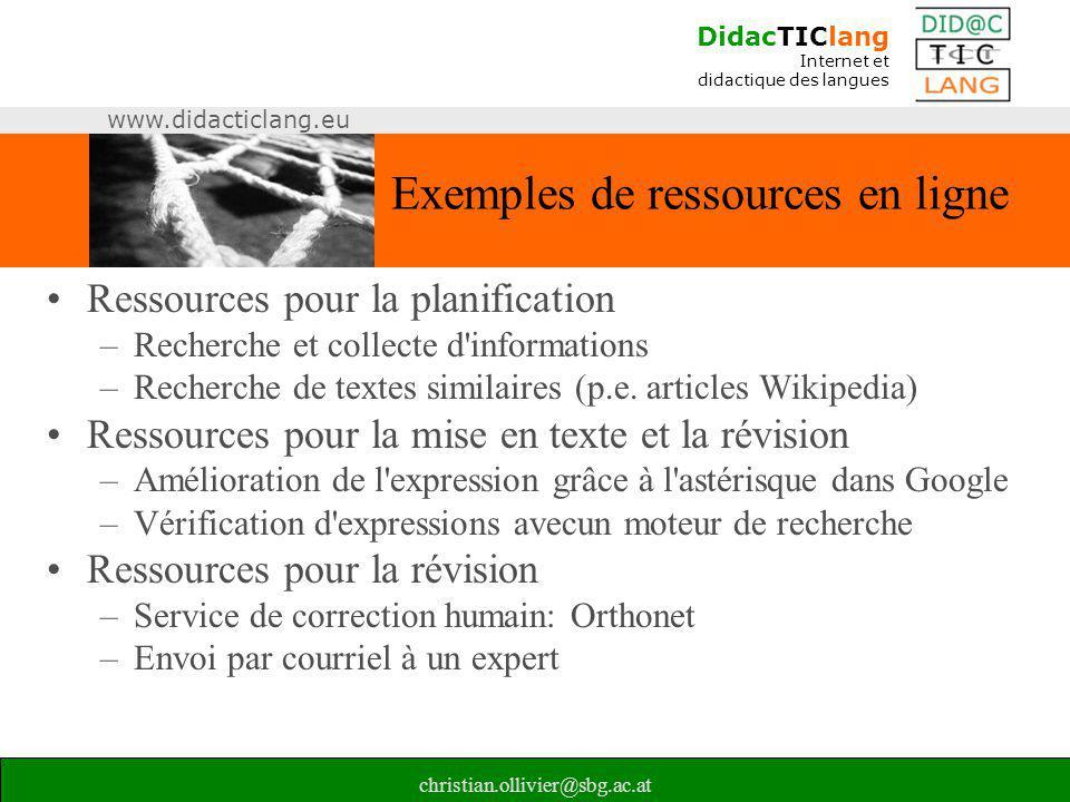 Exemples de ressources en ligne