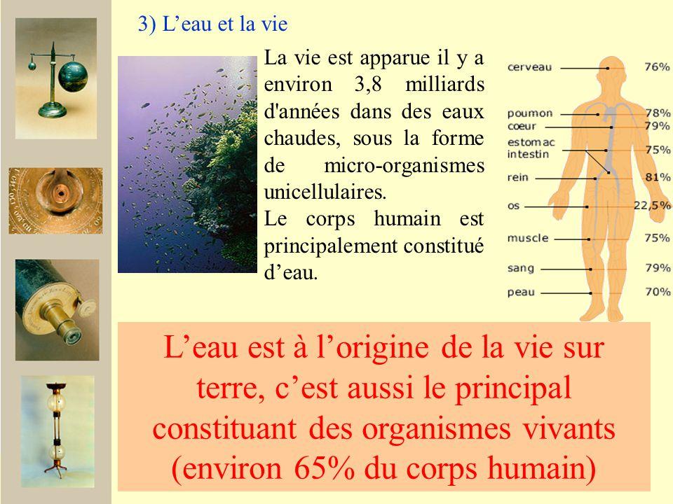 3) L'eau et la vie La vie est apparue il y a environ 3,8 milliards d années dans des eaux chaudes, sous la forme de micro-organismes unicellulaires.