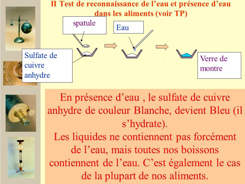 II Test de reconnaissance de l'eau et présence d'eau dans les aliments (voir TP)