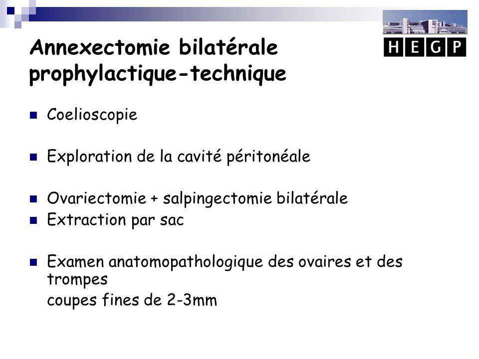 Annexectomie bilatérale prophylactique-technique