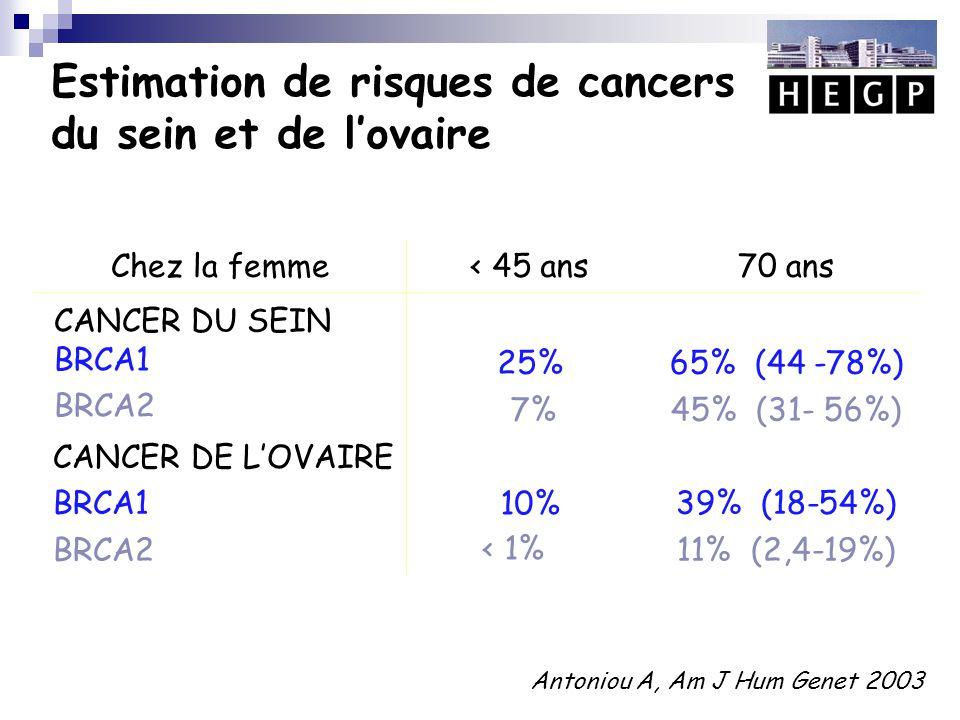 Estimation de risques de cancers du sein et de l'ovaire