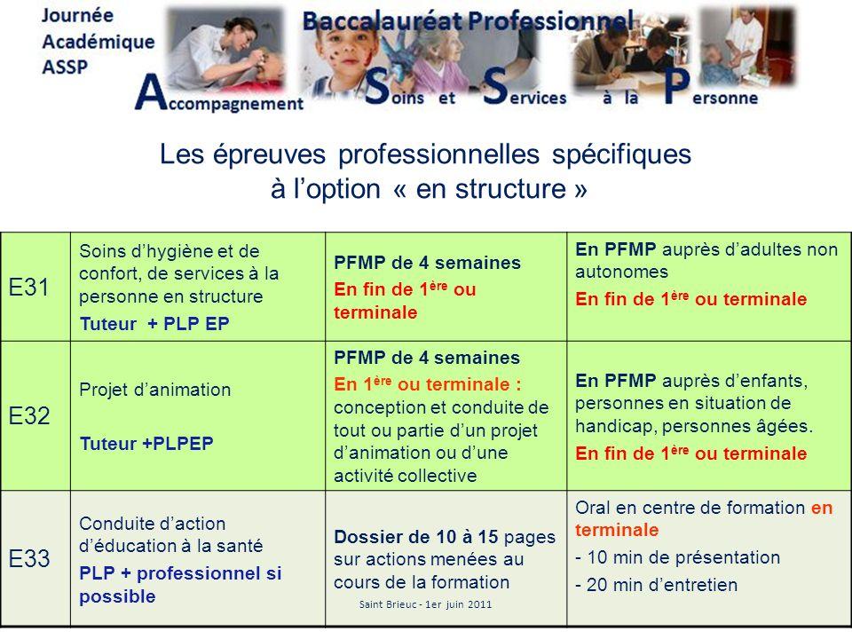 Les épreuves professionnelles spécifiques à l'option « en structure »