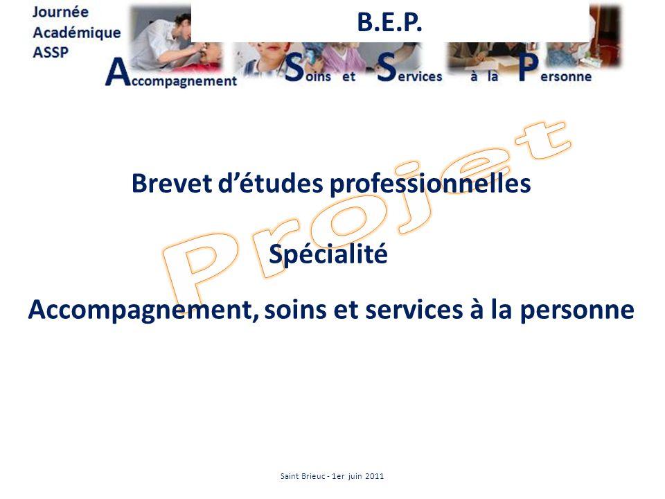 Projet B.E.P. Brevet d'études professionnelles Spécialité