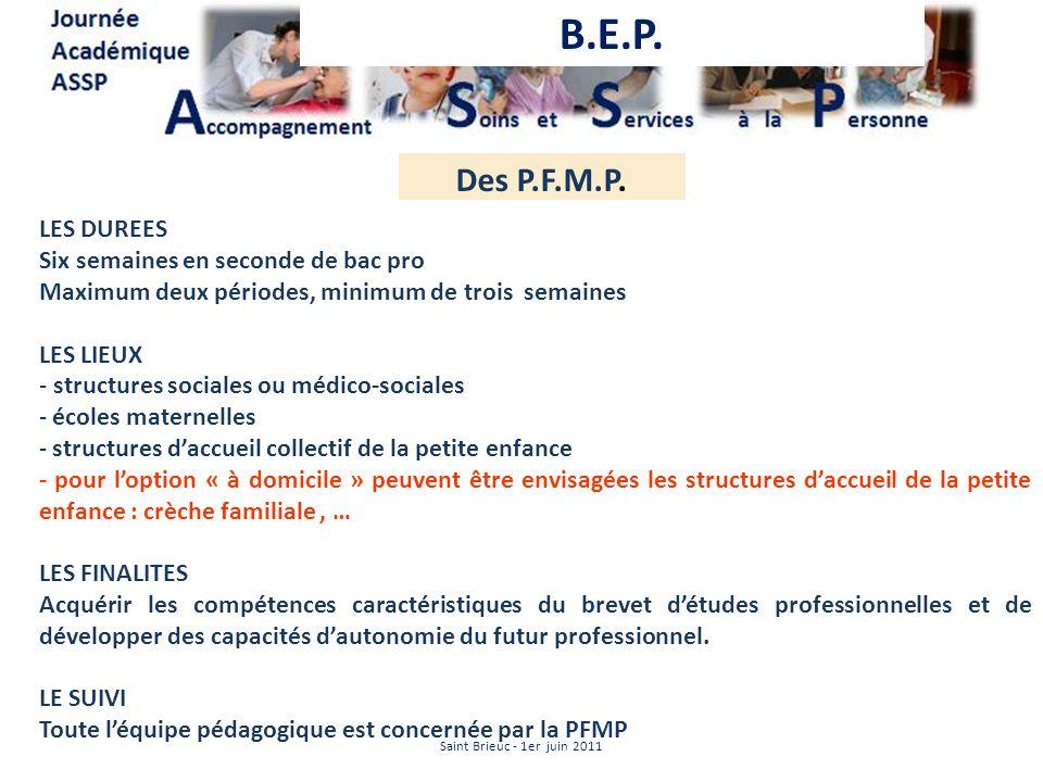 B.E.P. Des P.F.M.P. LES DUREES Six semaines en seconde de bac pro