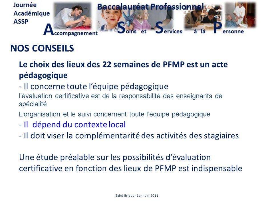 NOS CONSEILSLe choix des lieux des 22 semaines de PFMP est un acte pédagogique. Il concerne toute l'équipe pédagogique.