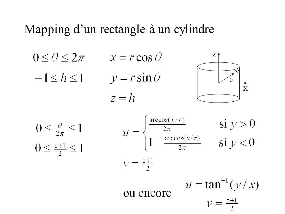 Mapping d'un rectangle à un cylindre