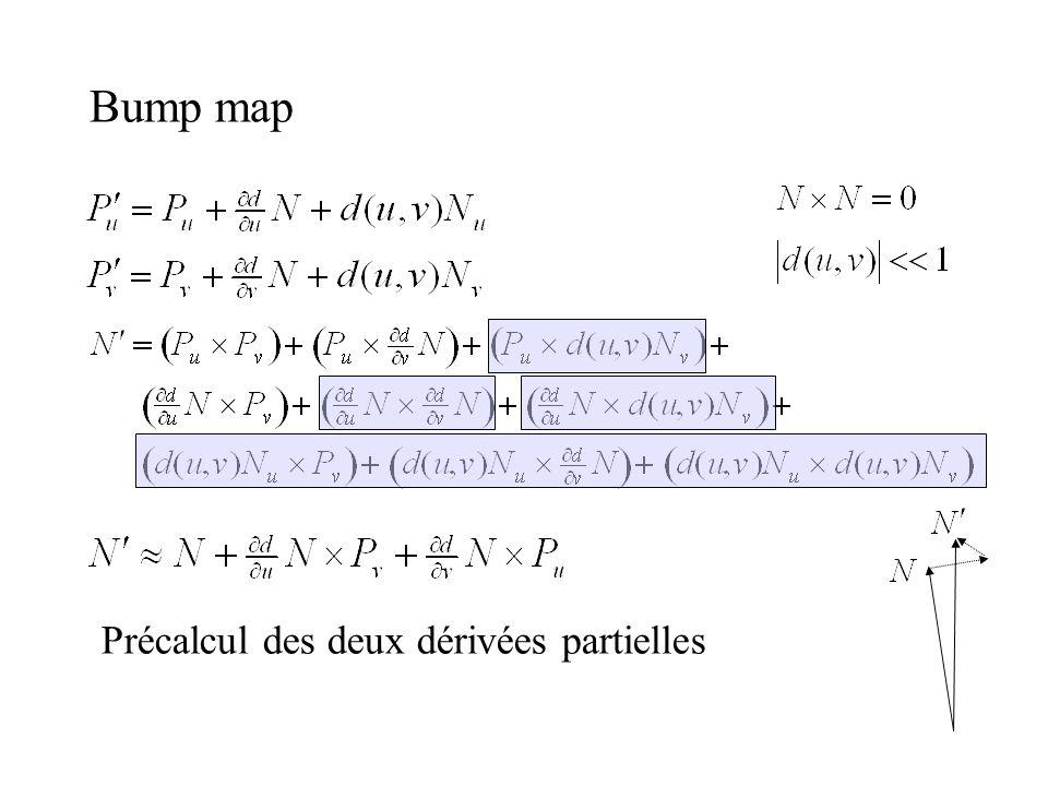 Bump map Précalcul des deux dérivées partielles