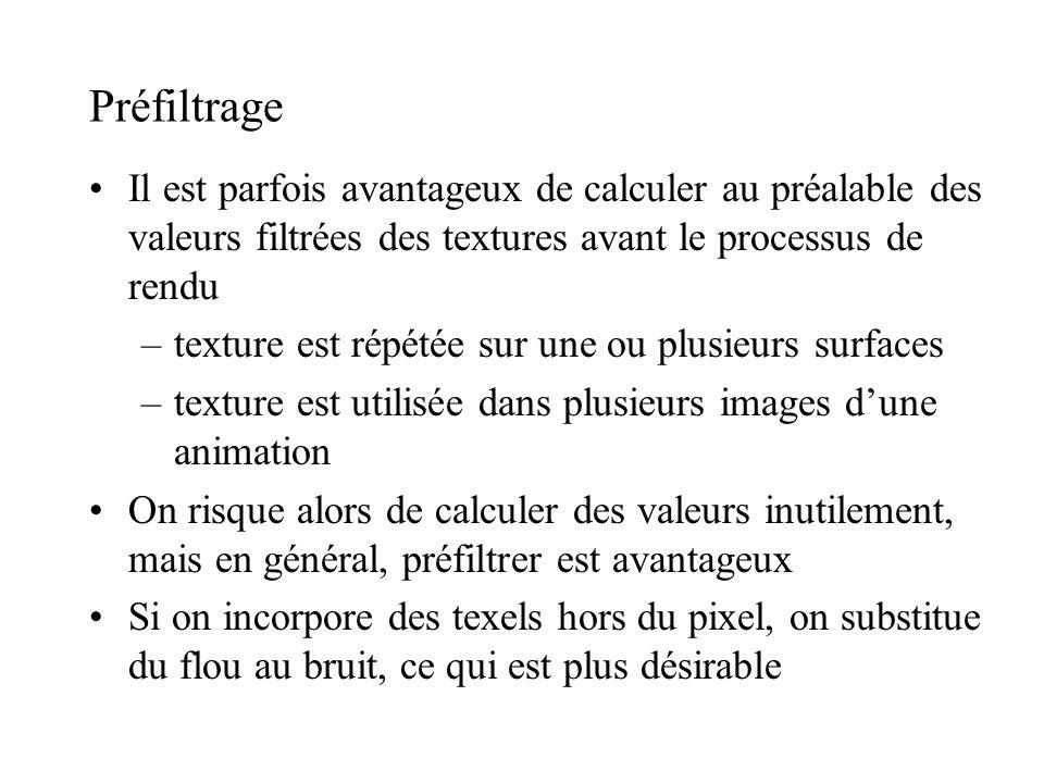 Préfiltrage Il est parfois avantageux de calculer au préalable des valeurs filtrées des textures avant le processus de rendu.