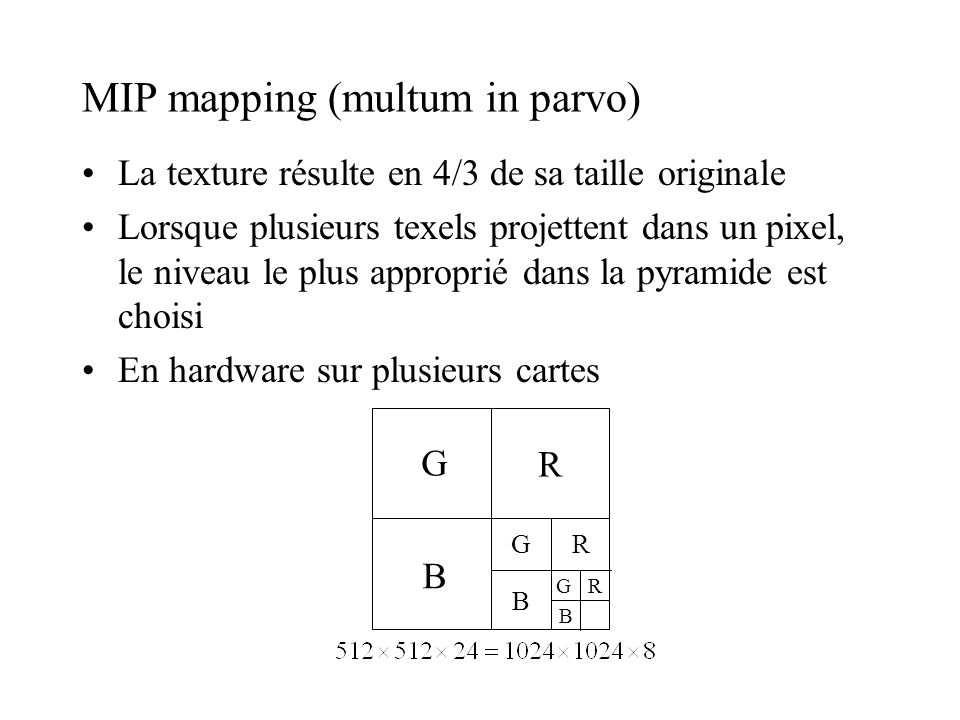 MIP mapping (multum in parvo)