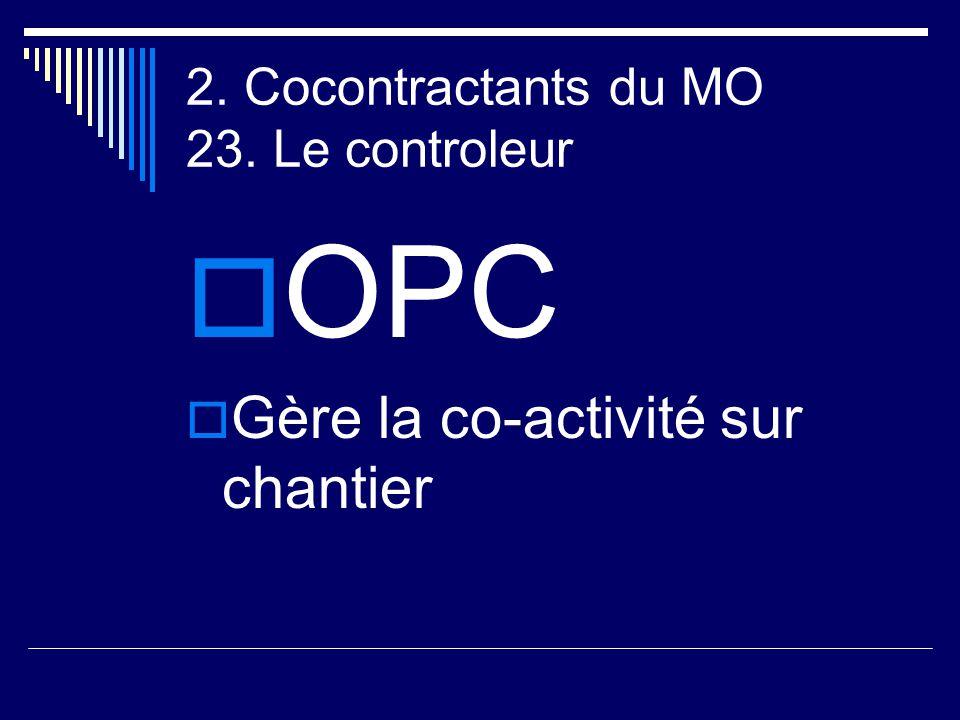 2. Cocontractants du MO 23. Le controleur