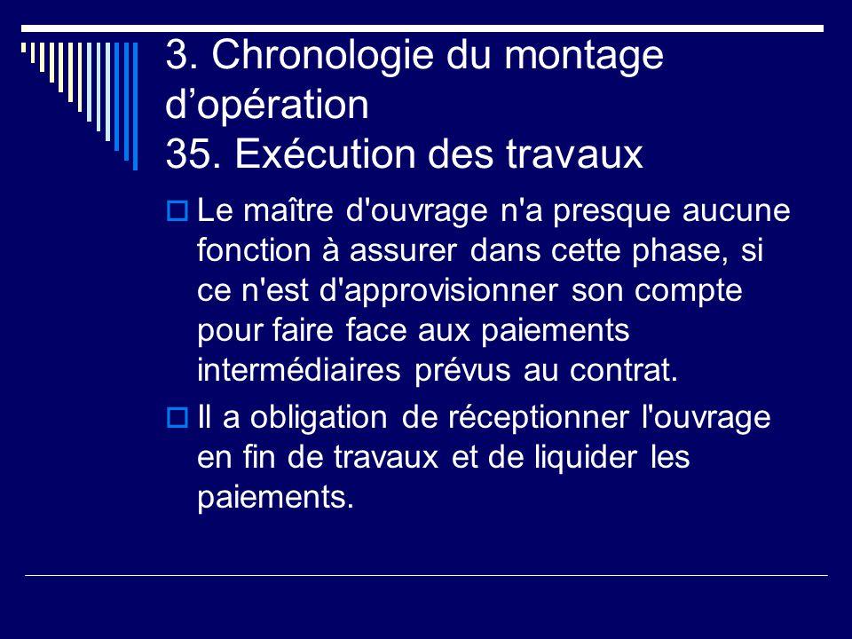 3. Chronologie du montage d'opération 35. Exécution des travaux