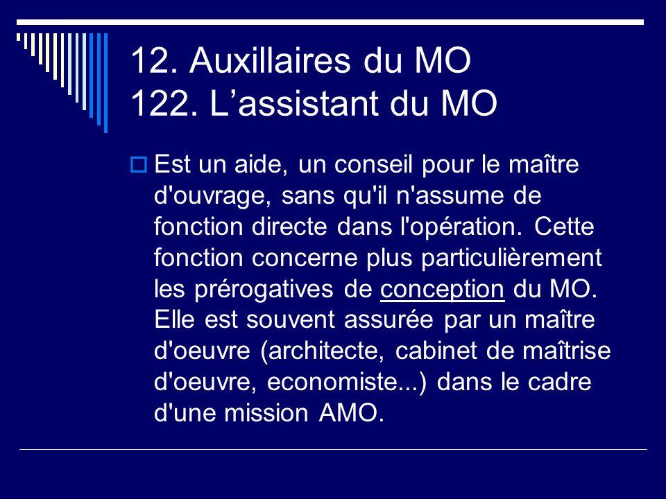 12. Auxillaires du MO 122. L'assistant du MO