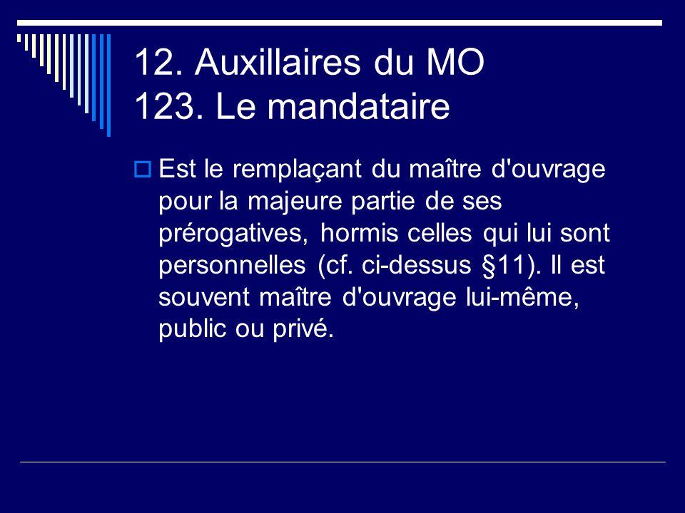 12. Auxillaires du MO 123. Le mandataire
