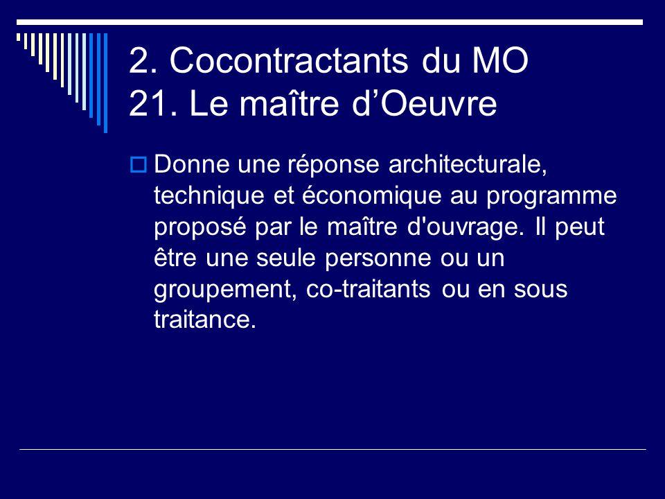 2. Cocontractants du MO 21. Le maître d'Oeuvre