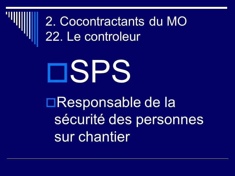 2. Cocontractants du MO 22. Le controleur