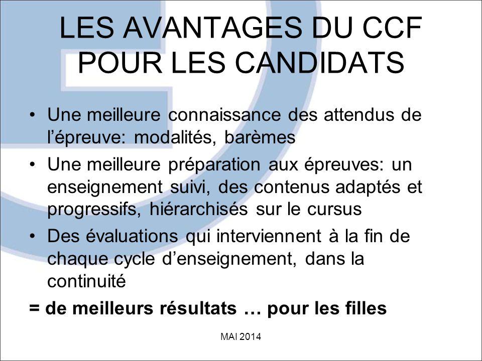 LES AVANTAGES DU CCF POUR LES CANDIDATS
