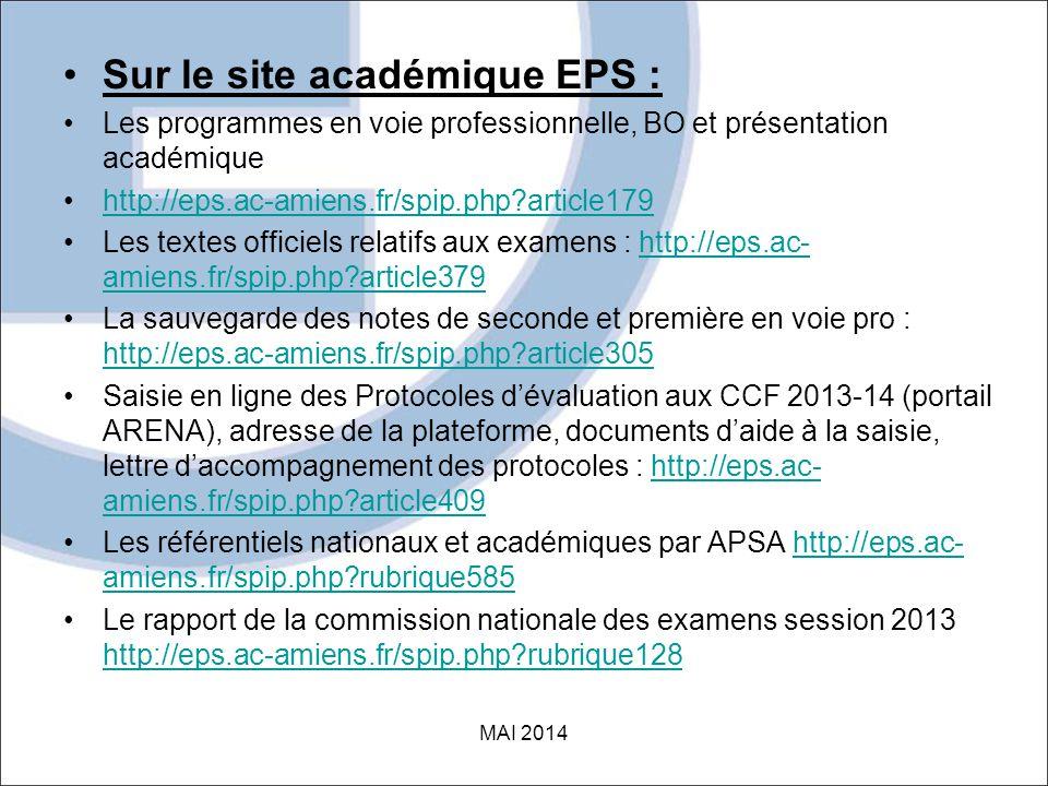 Sur le site académique EPS :