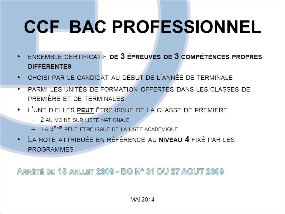 CCF BAC PROFESSIONNEL ensemble certificatif de 3 épreuves de 3 compétences propres différentes.