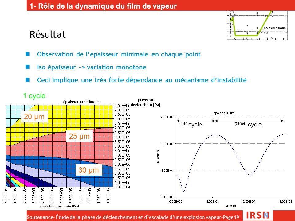 Résultat 1- Rôle de la dynamique du film de vapeur 1 cycle 20 µm 25 µm