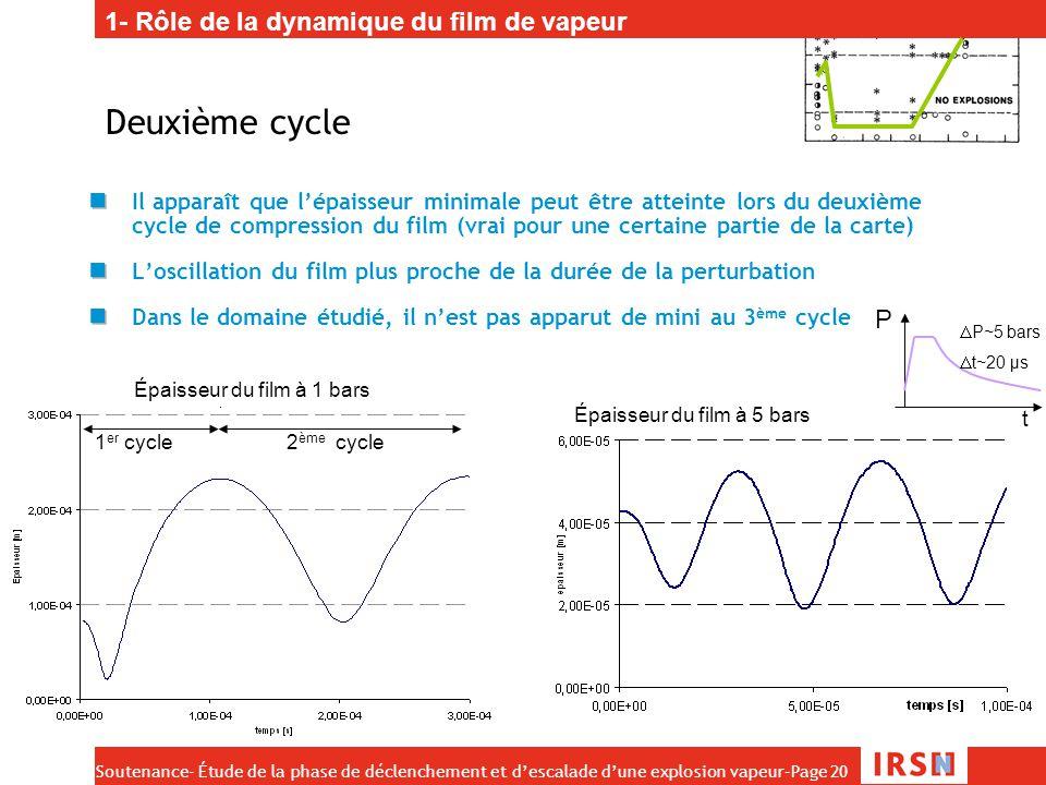 Deuxième cycle 1- Rôle de la dynamique du film de vapeur P