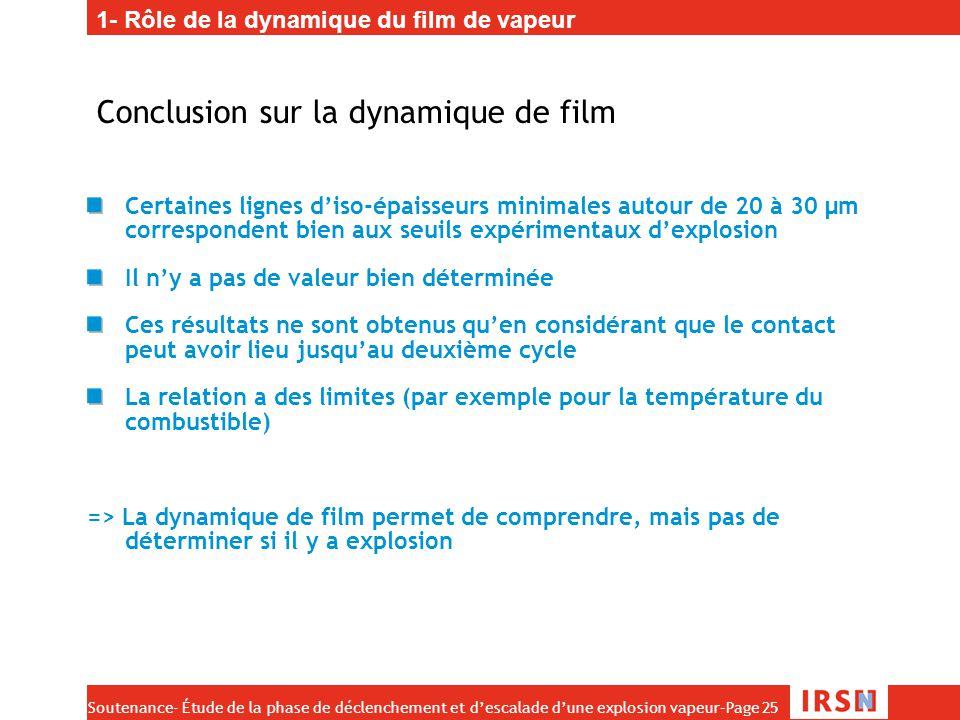 Conclusion sur la dynamique de film