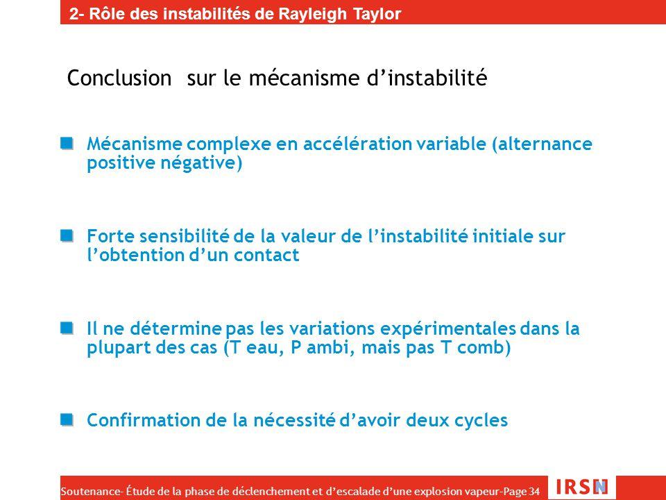 Conclusion sur le mécanisme d'instabilité