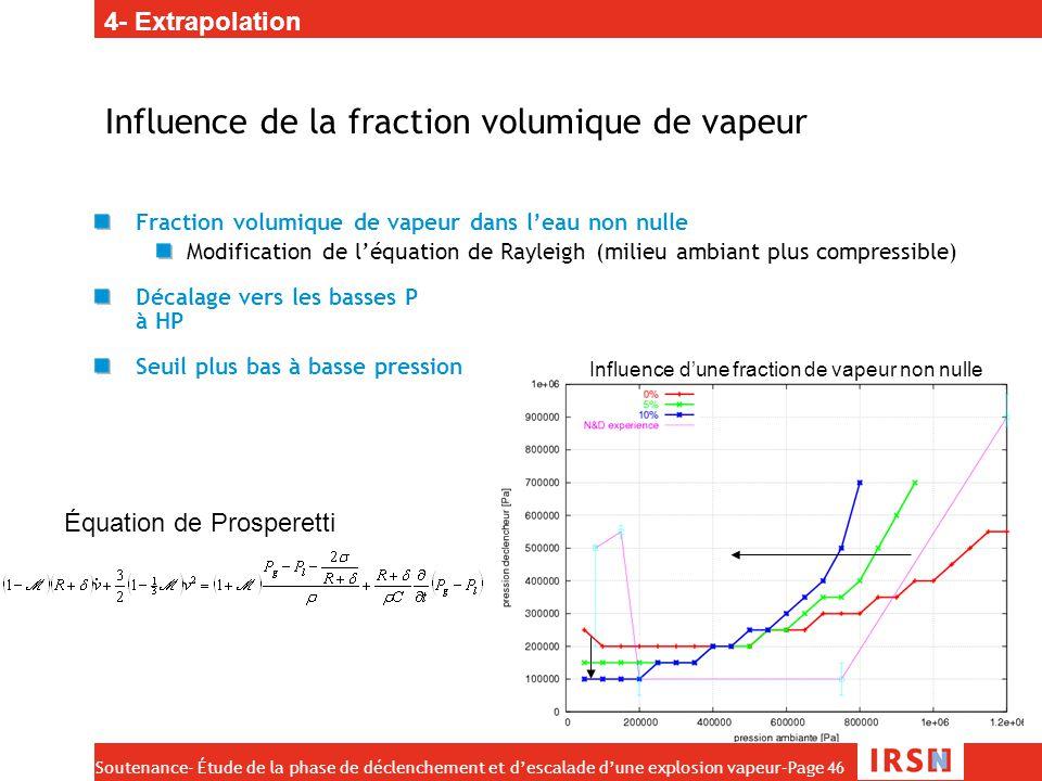 Influence de la fraction volumique de vapeur