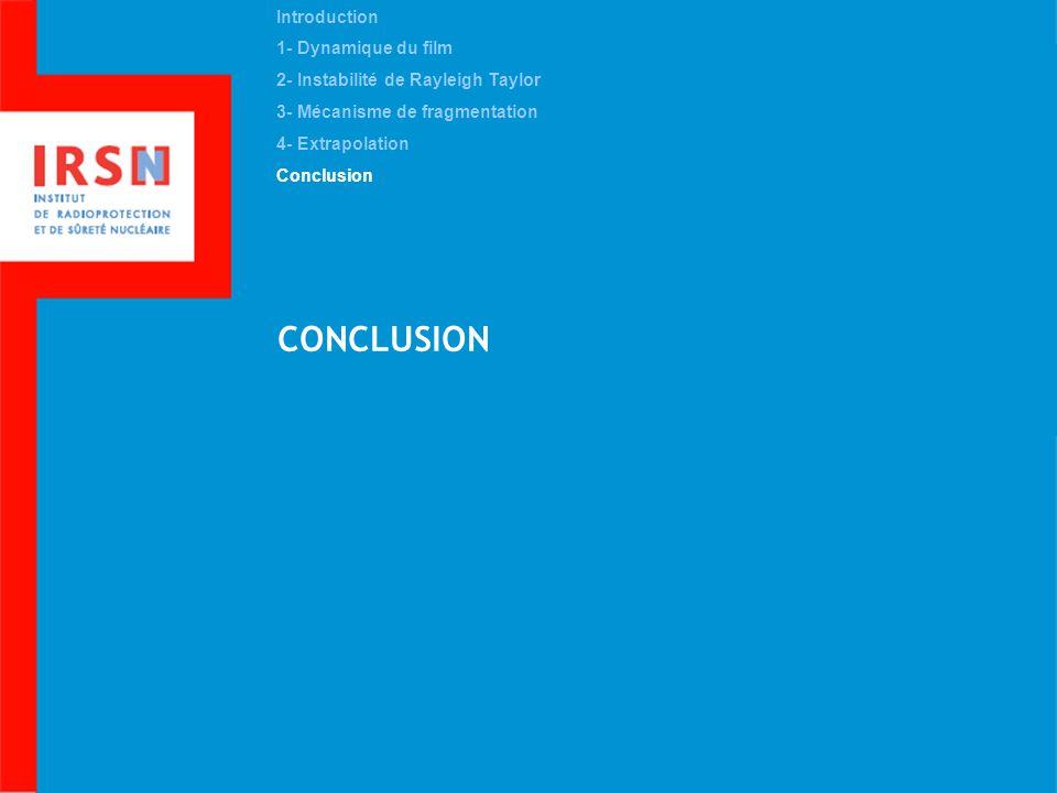 CONCLUSION Introduction 1- Dynamique du film