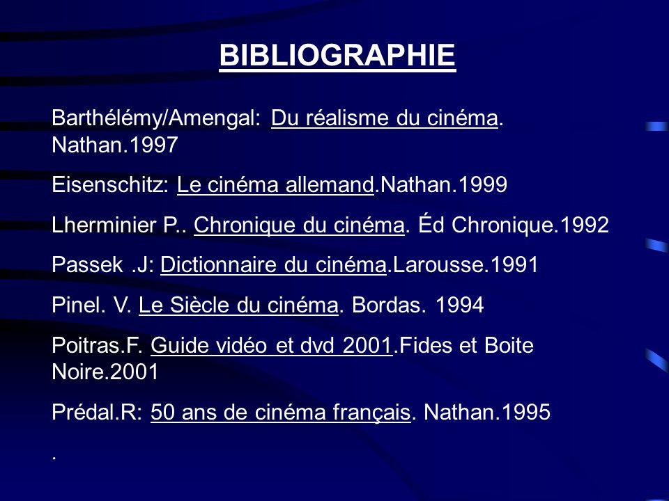 BIBLIOGRAPHIE Barthélémy/Amengal: Du réalisme du cinéma. Nathan.1997
