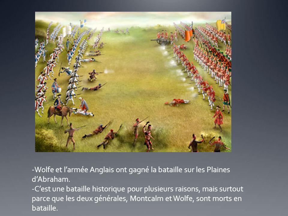 Wolfe et l'armée Anglais ont gagné la bataille sur les Plaines d'Abraham.