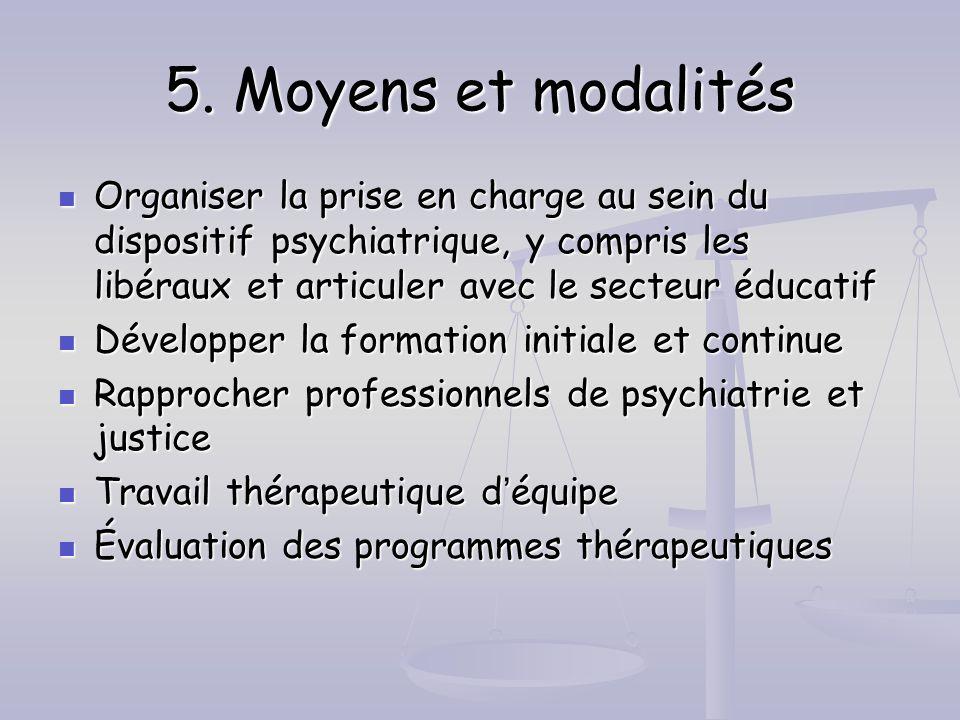 5. Moyens et modalités Organiser la prise en charge au sein du dispositif psychiatrique, y compris les libéraux et articuler avec le secteur éducatif.