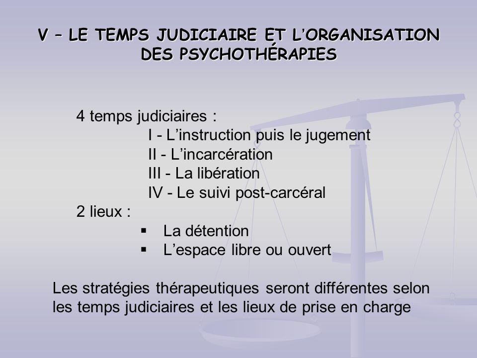 V – LE TEMPS JUDICIAIRE ET L'ORGANISATION DES PSYCHOTHÉRAPIES