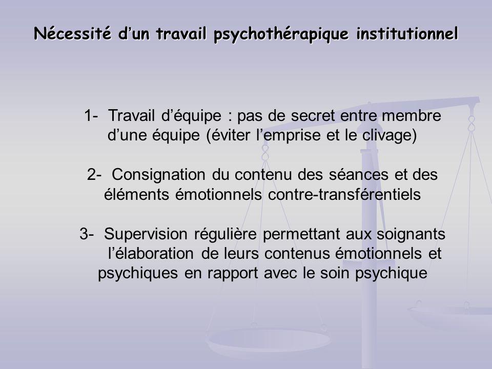 Nécessité d'un travail psychothérapique institutionnel