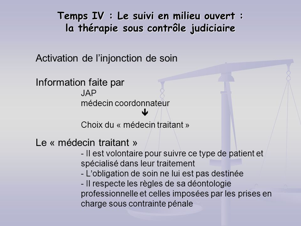 Activation de l'injonction de soin Information faite par