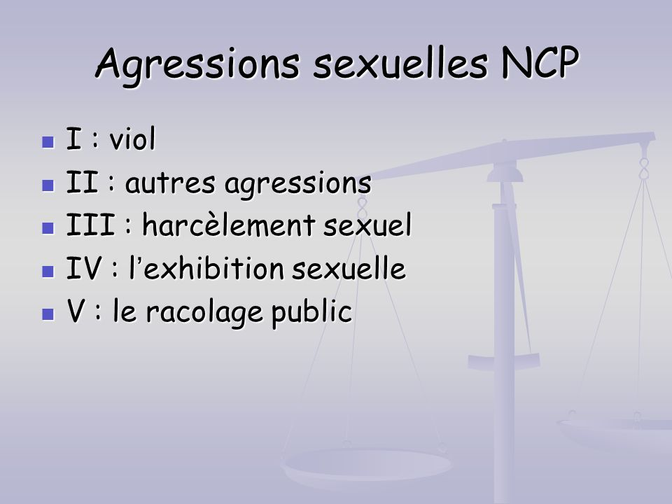Agressions sexuelles NCP