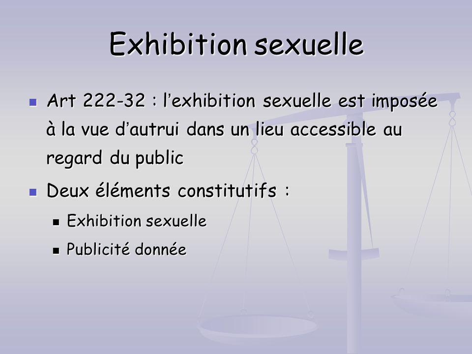 Exhibition sexuelle Art 222-32 : l'exhibition sexuelle est imposée à la vue d'autrui dans un lieu accessible au regard du public.