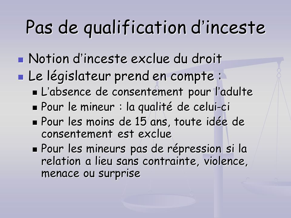 Pas de qualification d'inceste