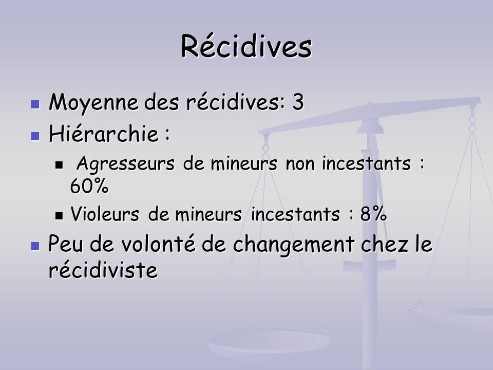 Récidives Moyenne des récidives: 3 Hiérarchie :