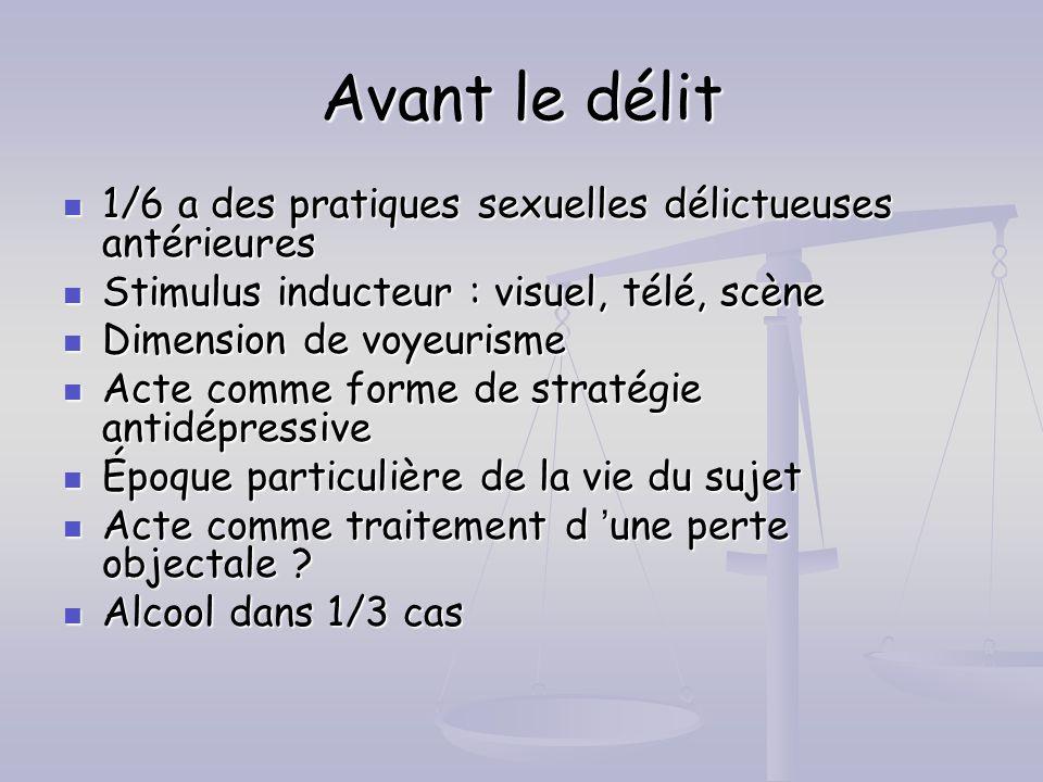 Avant le délit 1/6 a des pratiques sexuelles délictueuses antérieures