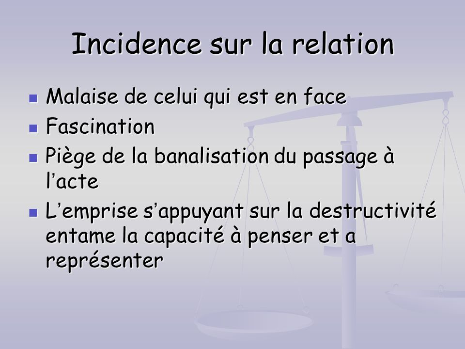 Incidence sur la relation