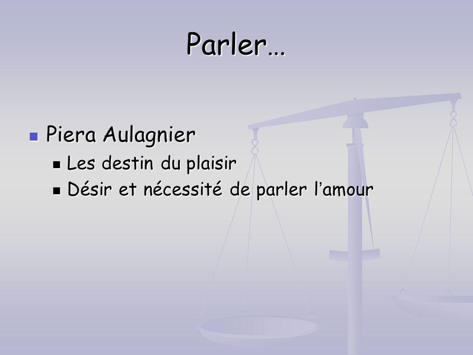 Parler… Piera Aulagnier Les destin du plaisir
