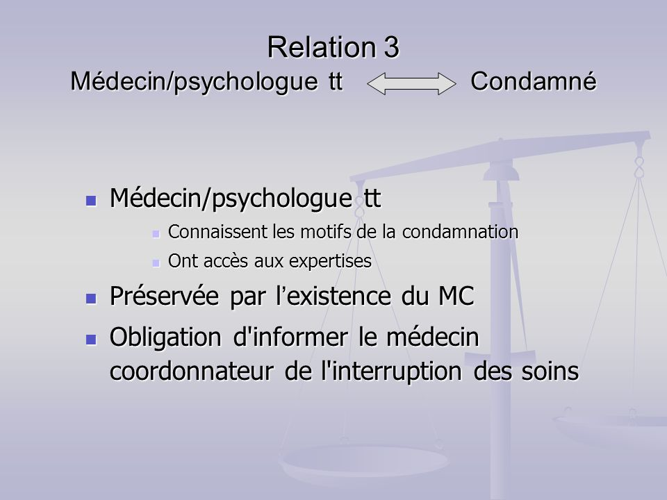Relation 3 Médecin/psychologue tt Condamné