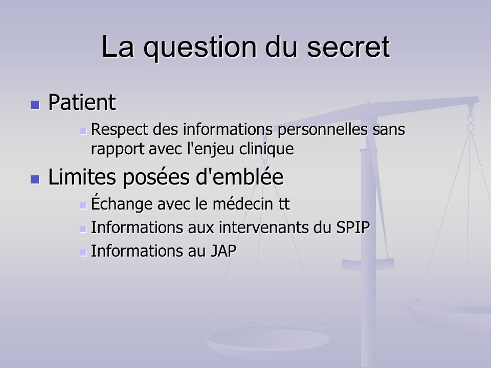 La question du secret Patient Limites posées d emblée