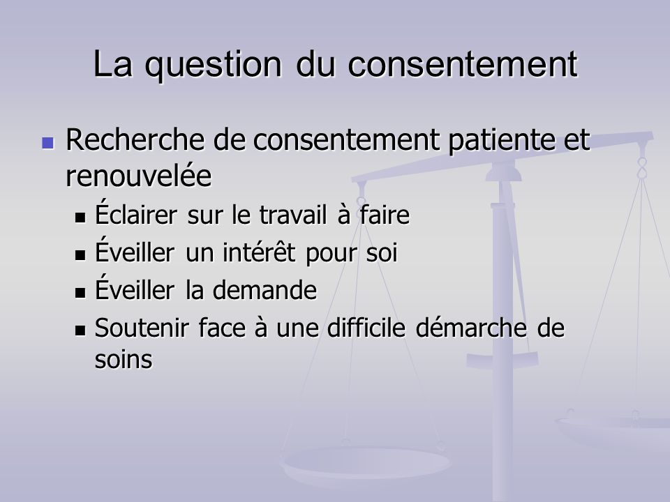 La question du consentement